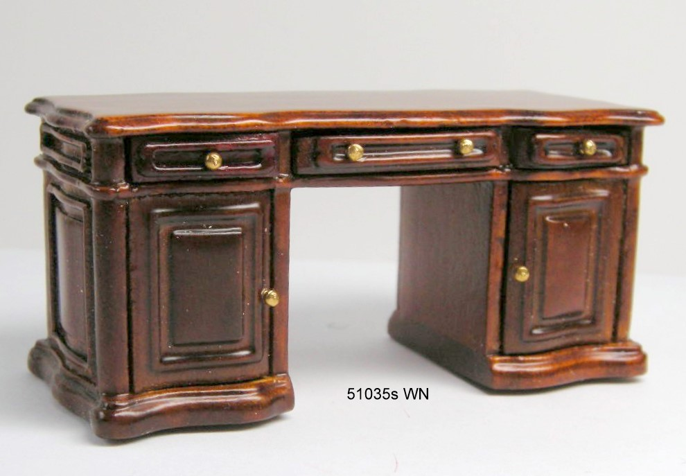 Pedestal Desk - walnut - Half Scale